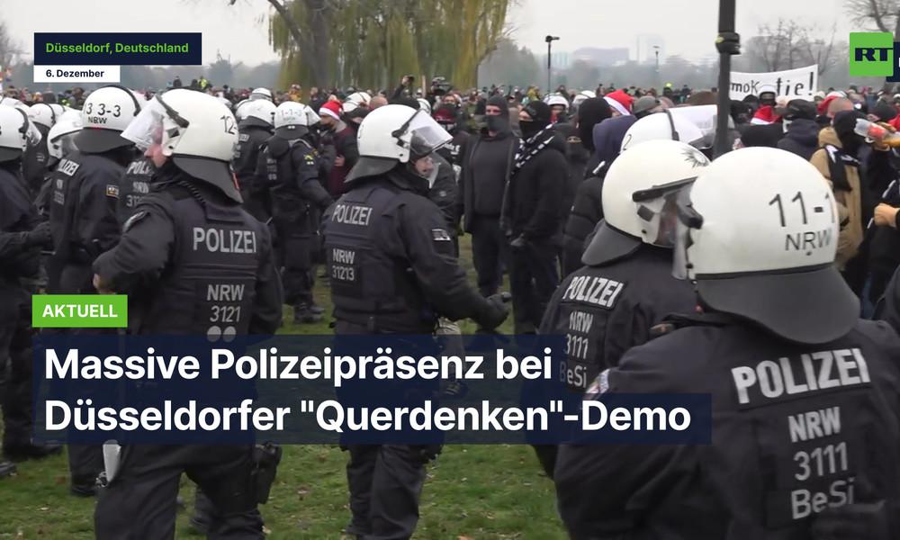 """Düsseldorf: Massive Polizeipräsenz bei Kundgebung der Initiative """"Querdenken"""""""