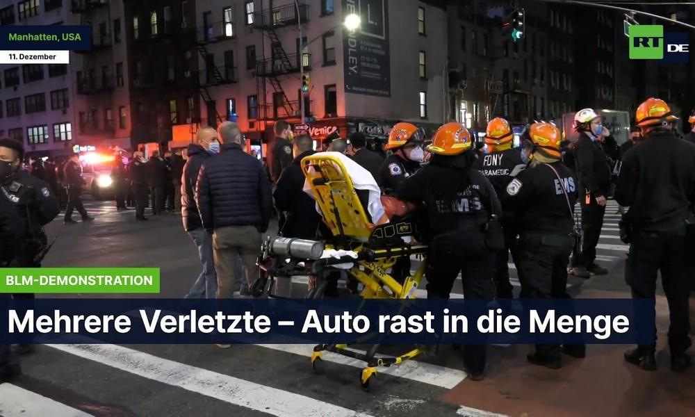 """Manhattan: Auto crasht in """"Black Lives Matter"""" Protest – Verletzte und Verhaftung"""