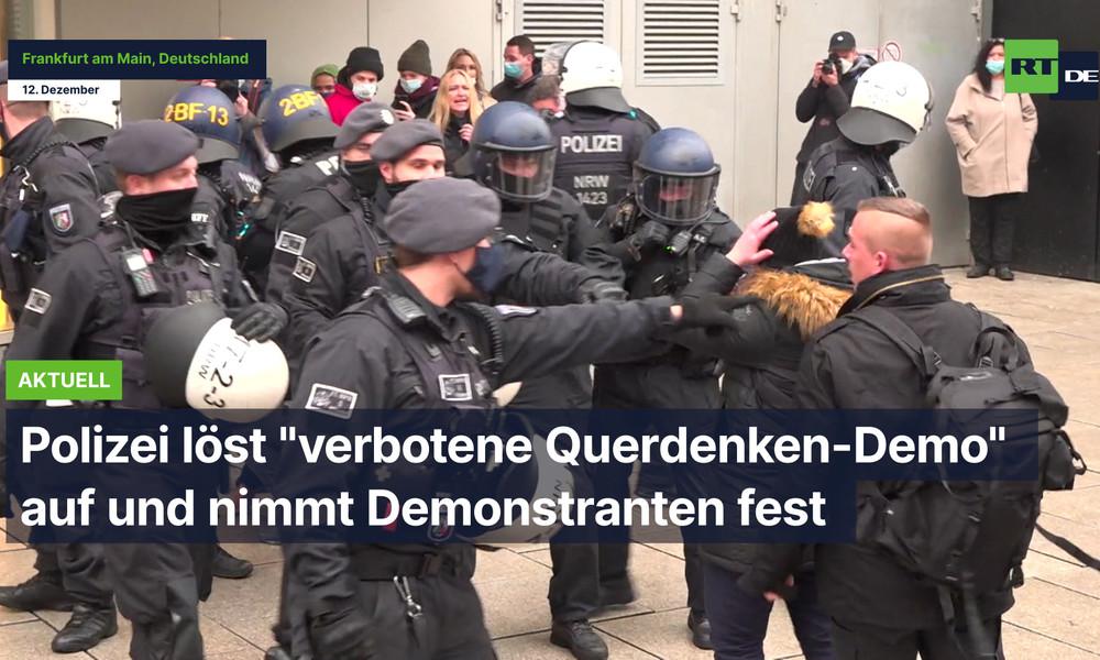 """Polizei löst """"verbotene Querdenken-Demo"""" auf und nimmt Demonstranten fest"""