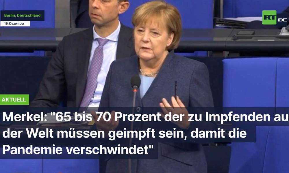 """Angela Merkel: """"70 Prozent der zu Impfenden müssen geimpft sein, dann verschwindet Pandemie"""""""