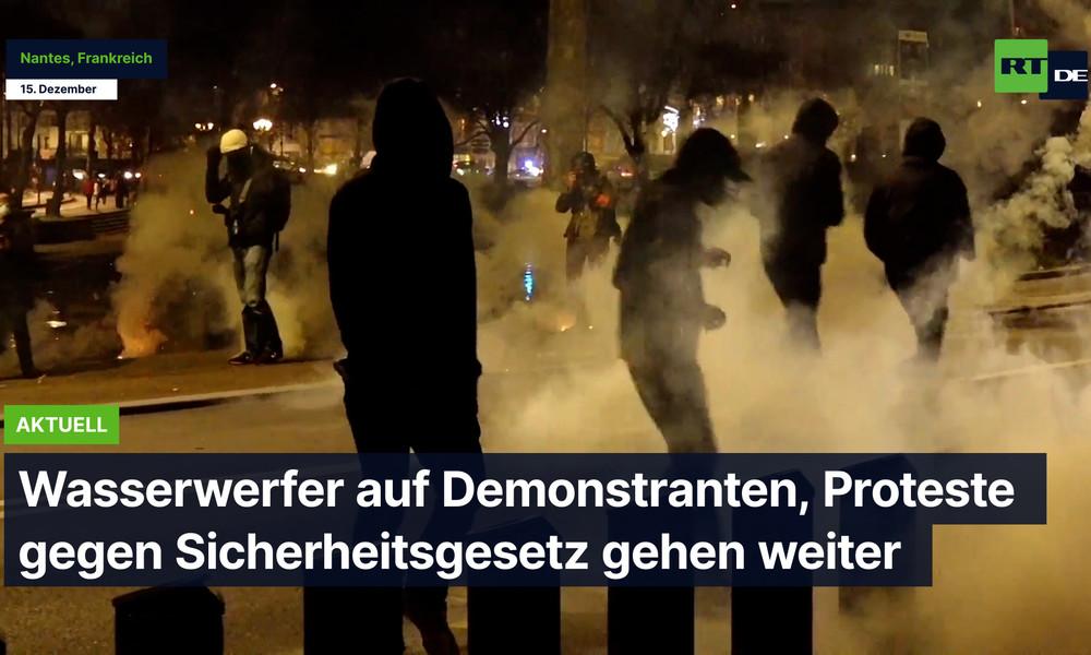 Frankreich: Einsatz von Wasserwerfern und Tränengas - Proteste gegen Sicherheitsgesetz gehen weiter