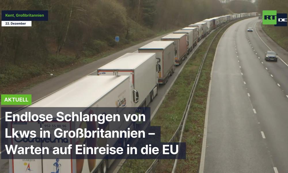 Geschlossene Grenze: Endlose Schlangen von Lkws in Großbritannien – Warten auf Einreise in die EU