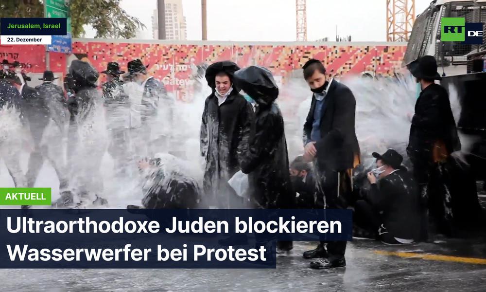 Ultraorthodoxe Juden blockieren Wasserwerfer bei Protest in Jerusalem