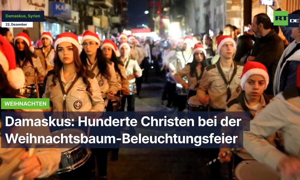 Syrien: Hunderte Christen bei der Weihnachtsbaum-Beleuchtungsfeier in Damaskus