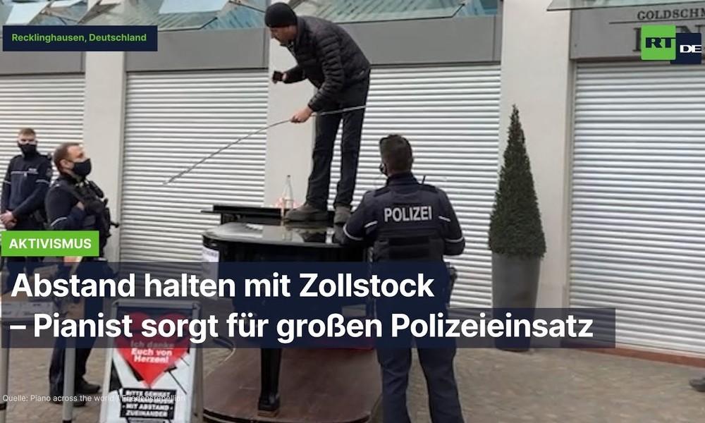 Abstand halten mit Zollstock – Pianist sorgt für großen Polizeieinsatz