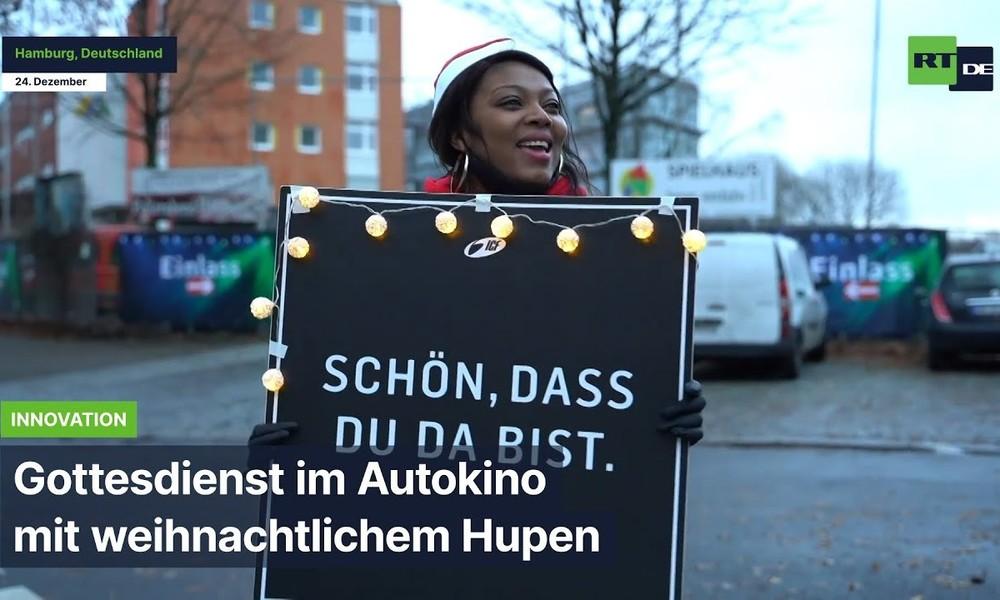 Hamburg: Gottesdienst im Autokino mit weihnachtlichem Hupen