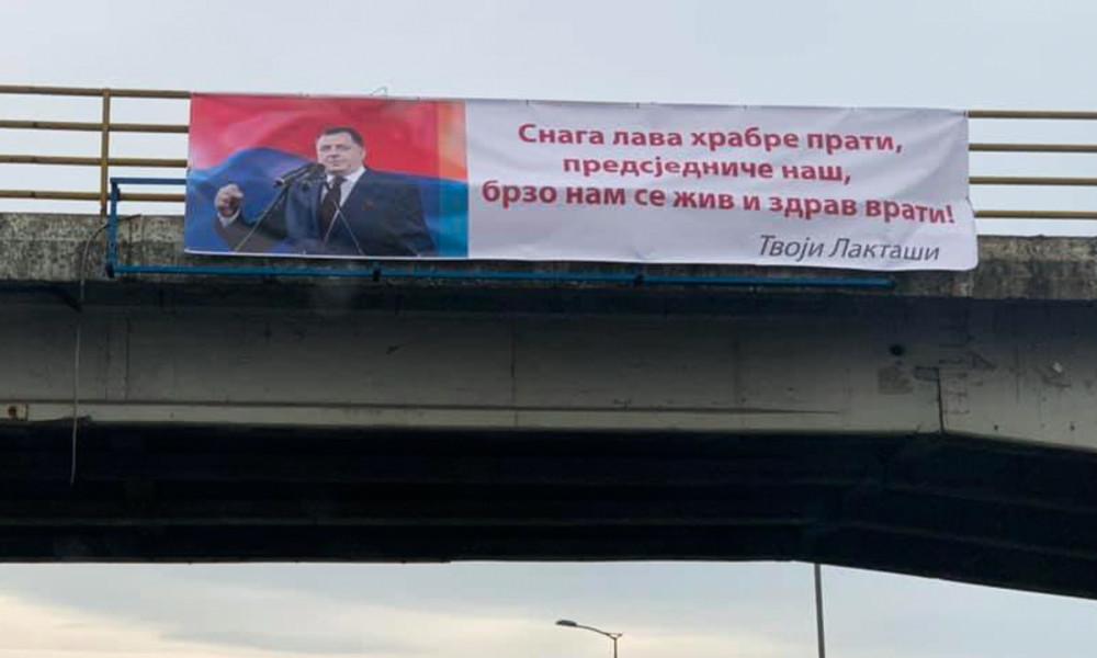 """""""Kraft des Löwen begleitet Mutige"""": Plakate mit Genesungswünschen für bosnisch-serbischen Politiker"""