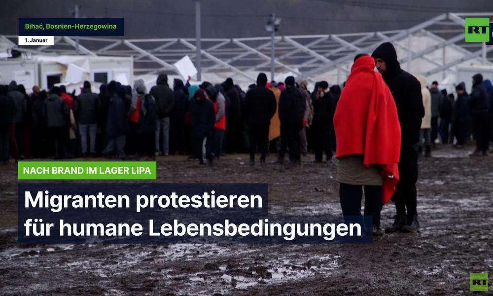 Nach Brand im Lager Lipa: Migranten protestieren für humane Lebensbedingungen
