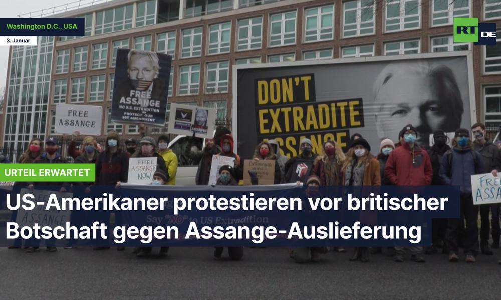 Urteil erwartet: US-Amerikaner protestieren vor britischer Botschaft gegen Assange-Auslieferung