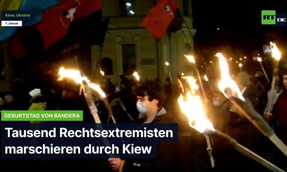 Tausende Rechtsextremisten marschieren durch Kiew