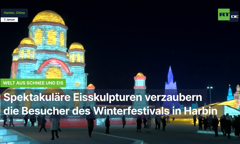 China: Spektakuläre Eisskulpturen verzaubern die Besucher des Winterfestivals in Harbin