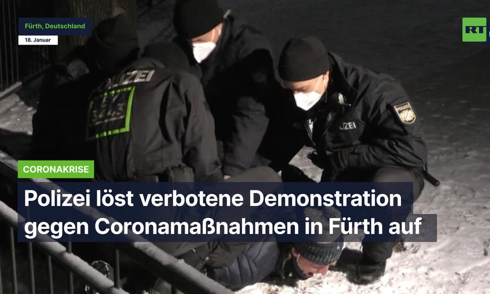 Polizei löst verbotene Demo gegen Coronamaßnahmen in Fürth auf