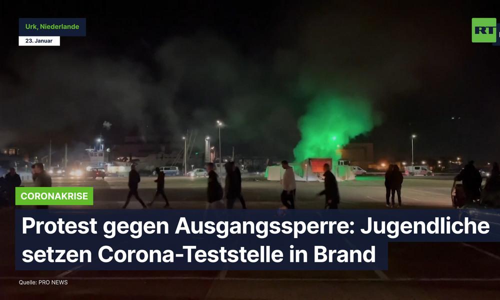 Protest gegen Ausgangssperre: Jugendliche setzen Corona-Teststelle in Brand