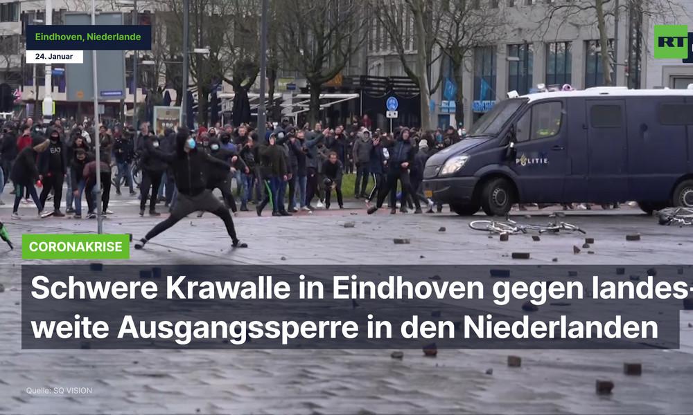 Proteste und schwere Krawalle in Eindhoven gegen landesweite Ausgangssperre in den Niederlanden