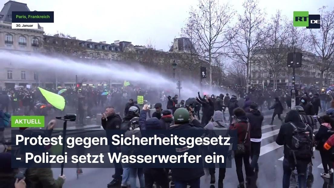 Paris: Protest gegen Sicherheitsgesetz - Polizei setzt Wasserwerfer ein