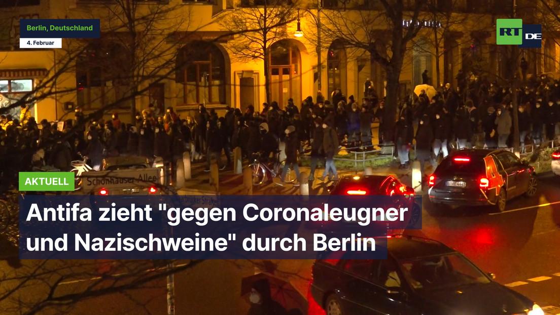 """Antifa zieht """"gegen Coronaleugner und Nazischweine"""" durch Berlin"""