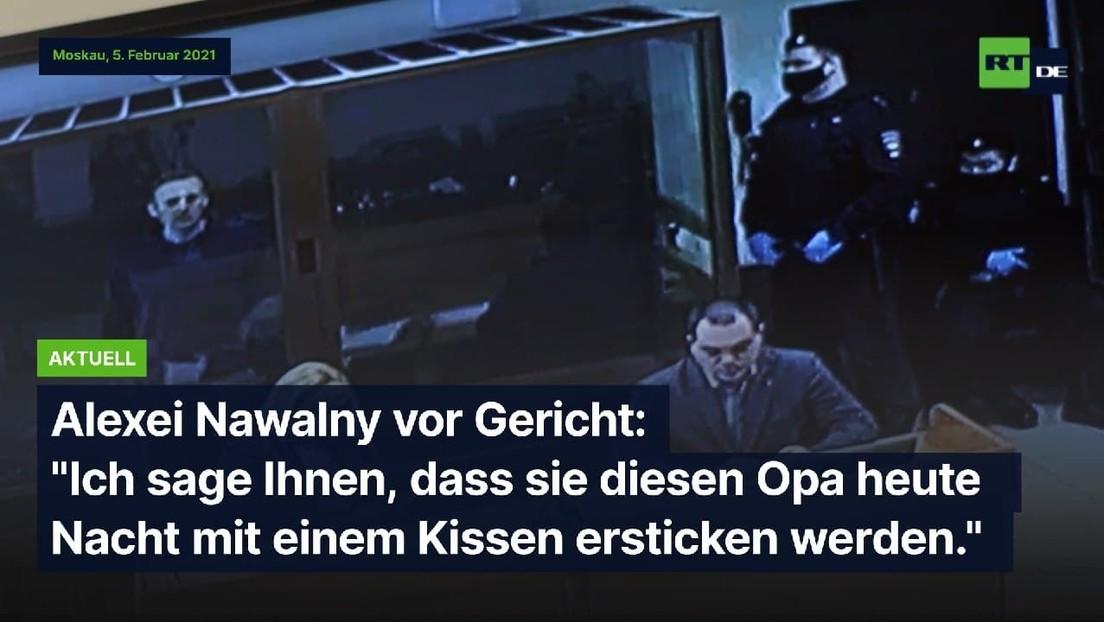 Alexei Nawalnys Auftritt bei der Gerichtsverhandlung wegen Verleumdung eines Kriegsveteranen