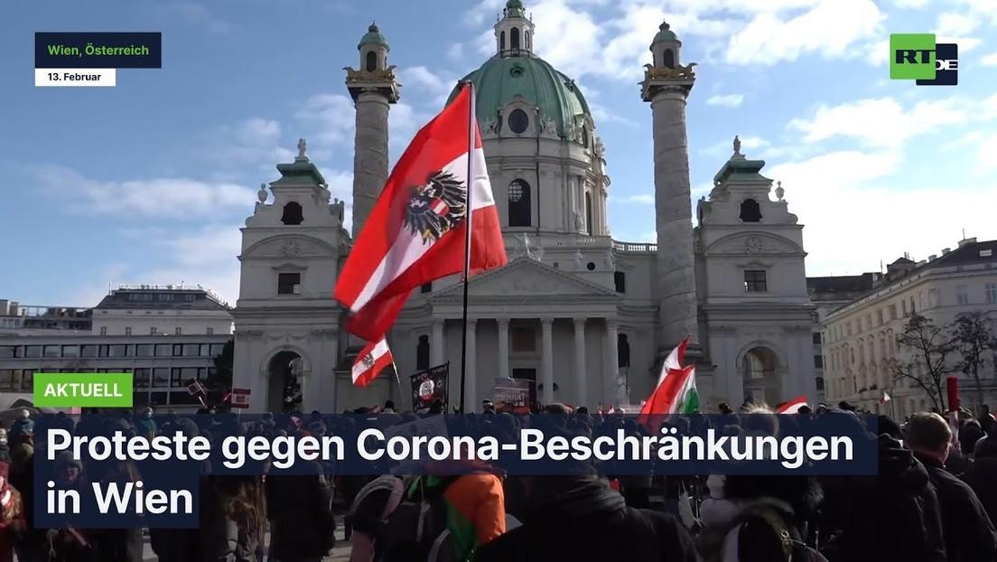Proteste gegen Corona-Beschränkungen in Wien