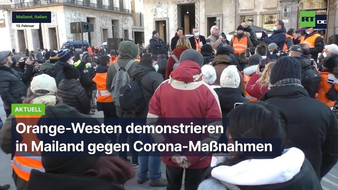 """""""Was war der Sinn der Abriegelung?"""" – Orange-Westen demonstrieren in Mailand gegen Corona-Maßnahmen"""
