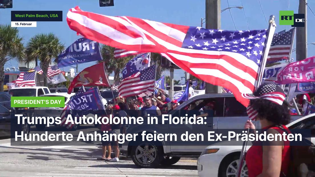 Trumps Autokolonne in Florida: Hunderte Anhänger feiern den Ex-Präsidenten