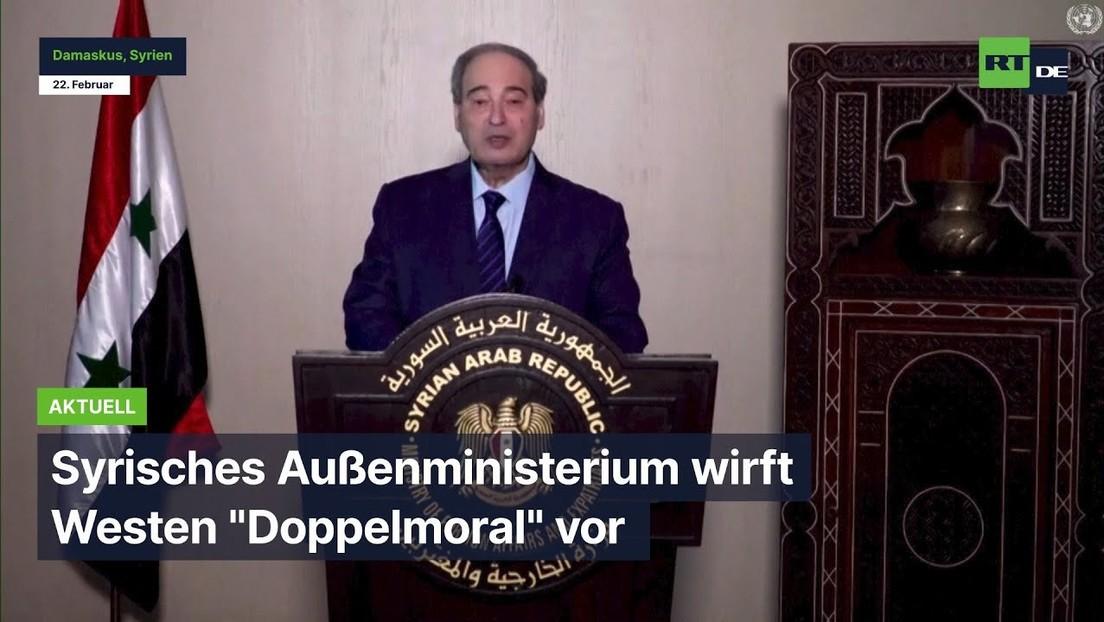 """UN-Menschenrechtsrat: Syrisches Außenministerium wirft Westen """"Doppelmoral"""" vor"""