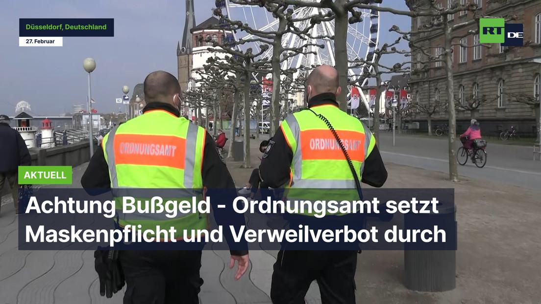 """Düsseldorf: Achtung Bußgeld - Ordnungsamt setzt Maskenpflicht und """"Verweilverbot"""" durch"""