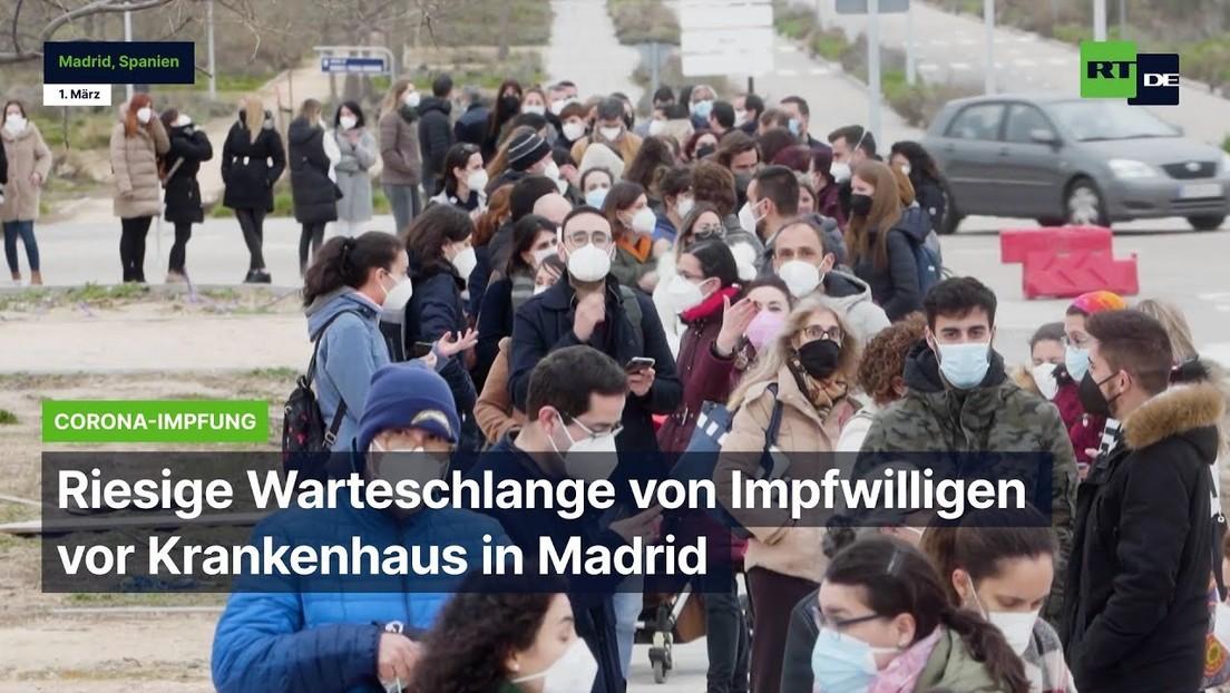 Spanien: Riesige Warteschlange von Impfwilligen vor Krankenhaus in Madrid