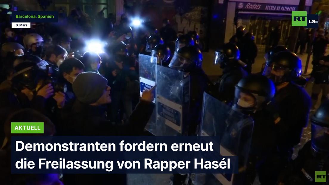 Barcelona: Demonstranten fordern erneut die Freilassung von Rapper Hasél