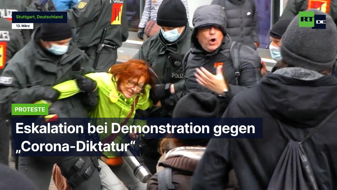 "Eskalation bei Demonstration gegen ""Corona-Diktatur"" in Stuttgart"