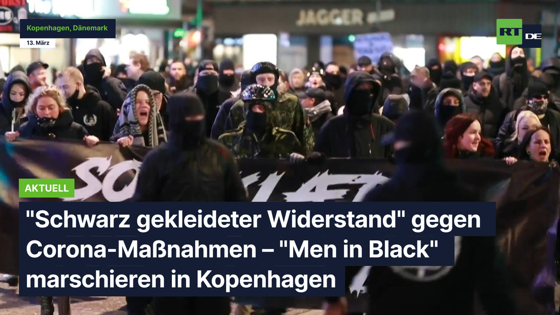 """""""Schwarz gekleideter Widerstand"""" gegen Corona-Maßnahmen – """"Men in Black"""" marschieren in Kopenhagen"""