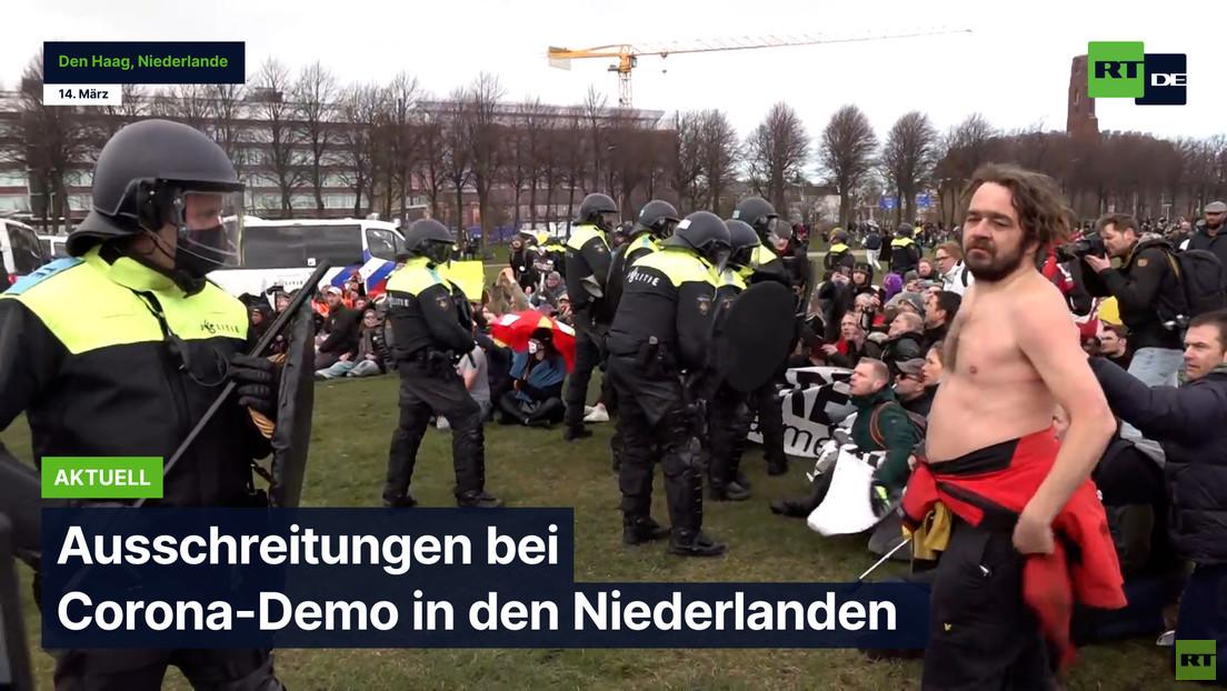 """Hartes Vorgehen der Polizei bei """"Anti-Corona-Demo"""" in den Niederlanden"""