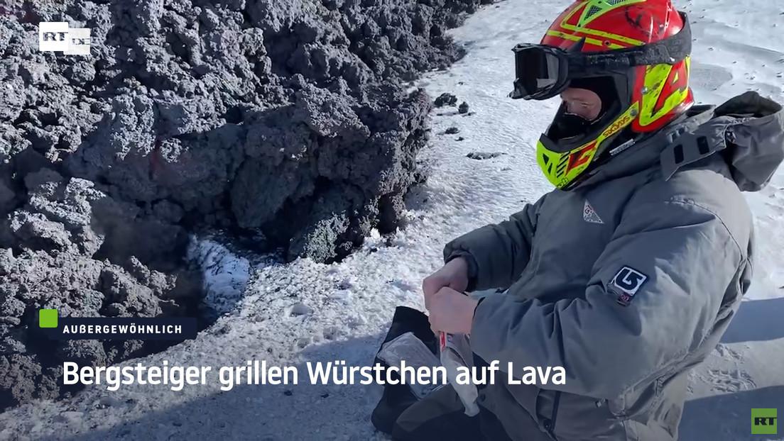 Gefährliche Mahlzeit am Vulkan: Touristen braten Würstchen auf erstarrender Lava