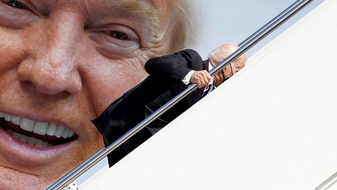 """""""Habe nicht gegen ihn verloren"""": Trump verspottet Bidens Stolper-Panne auf Treppe zu Air Force One"""