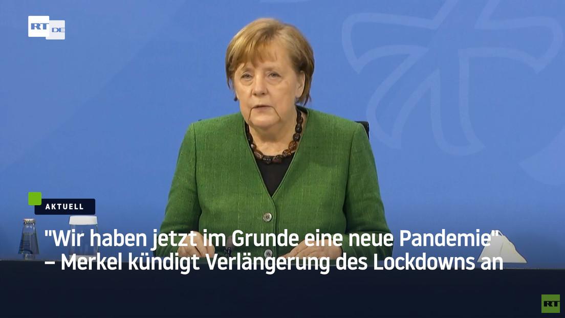 """""""Wir haben jetzt im Grunde eine neue Pandemie"""" – Merkel kündigt Verlängerung des Lockdowns an"""