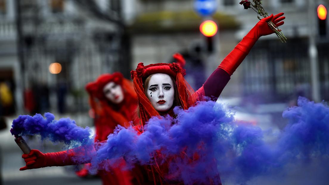 Dublin: Protest von Extinction Rebellion gegen den Import von Fracking-Gas