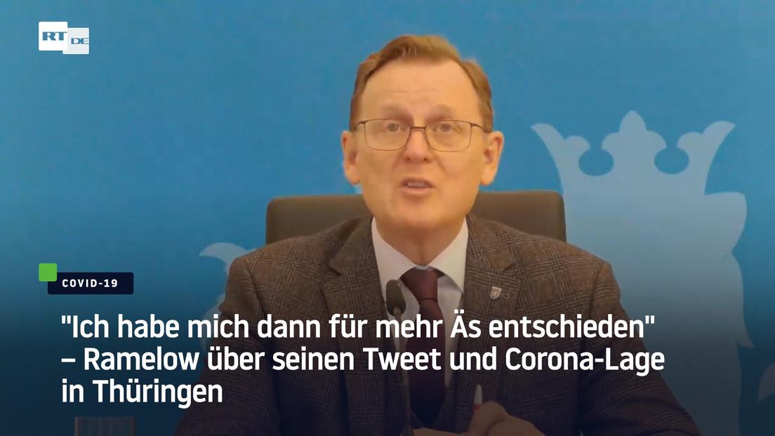 """""""Ich habe mich dann für mehr Äs entschieden"""": Ramelow über seinen Tweet und Corona-Lage in Thüringen"""