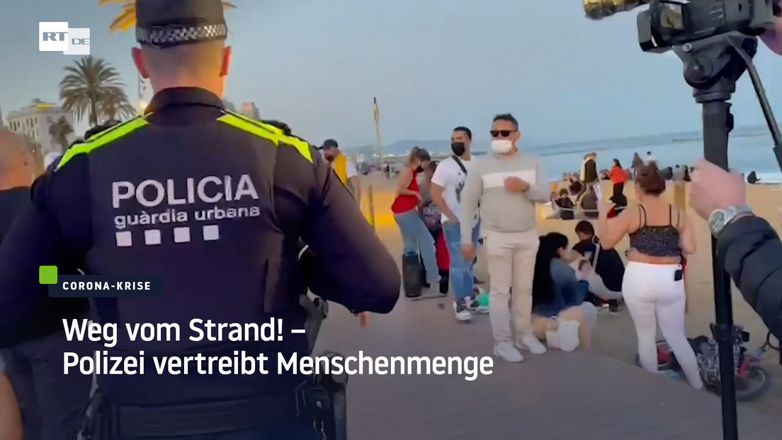 Barcelona: Weg vom Strand! – Polizei vertreibt Menschenmenge
