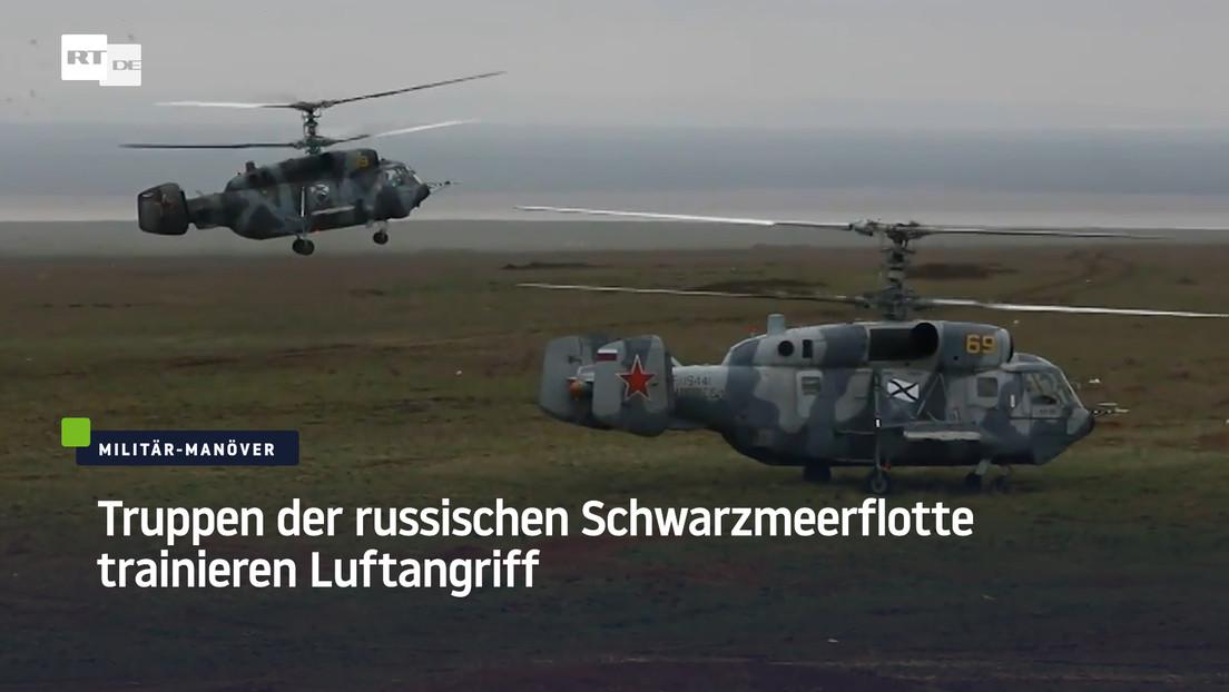 Truppen der russischen Schwarzmeerflotte trainieren Luftangriff