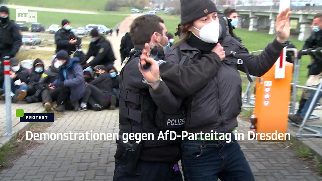 Demonstrationen gegen AfD-Parteitag in Dresden