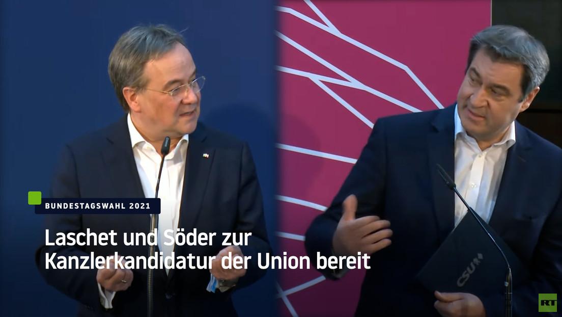 Ringen um Zustimmung: Söder und Laschet wollen beide gern Merkel beerben
