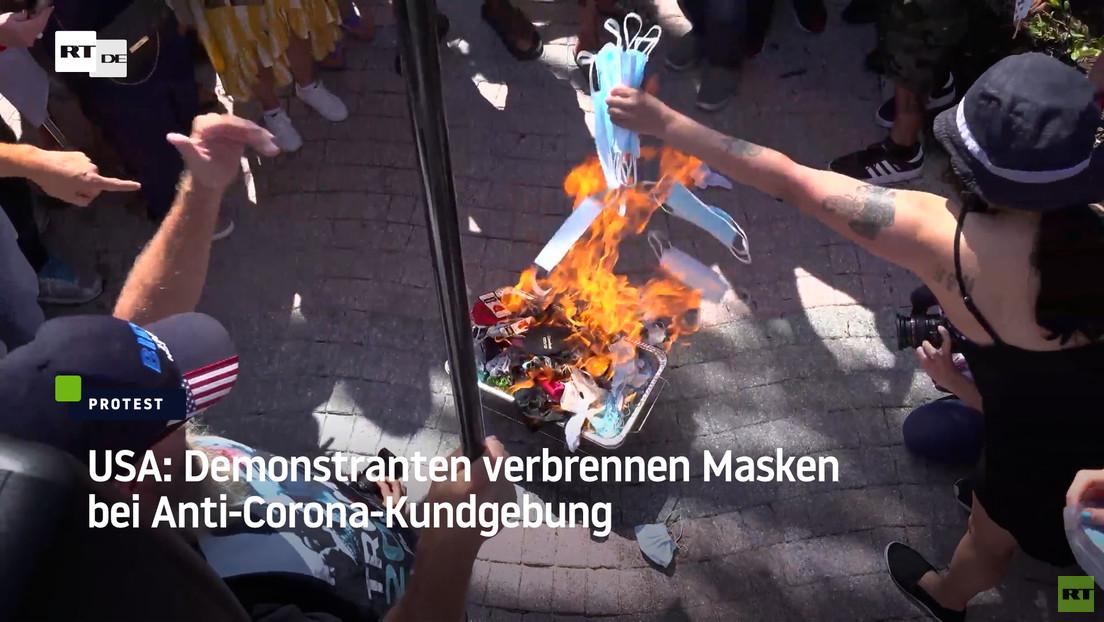 USA: Demonstranten verbrennen Masken bei Anti-Corona-Kundgebung