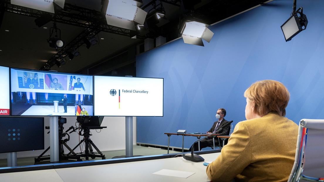 """Telefonat: Biden und Merkel fordern """"Abbau der jüngsten russischen Truppenverstärkungen"""" in Russland"""