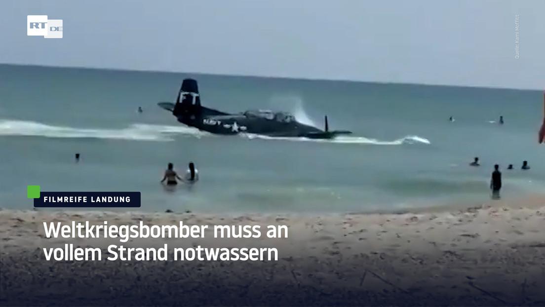 Filmreife Landung: Weltkriegsbomber muss an vollem Strand notwassern