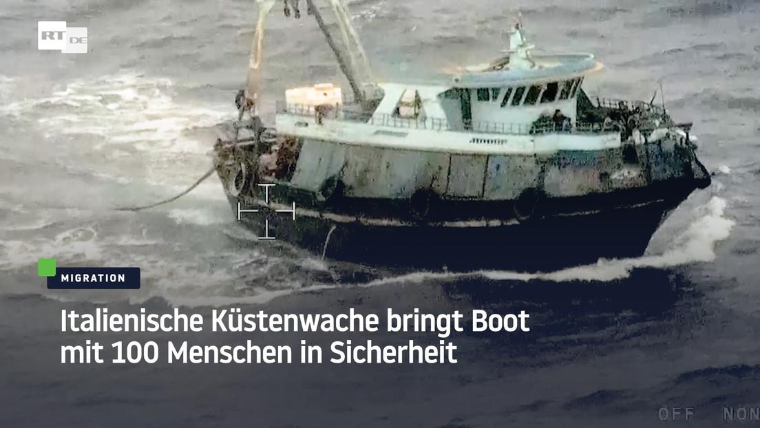 Italienische Küstenwache bringt Boot mit 100 Menschen in Sicherheit