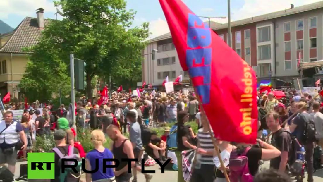 Live: Protest in Garmisch-Partenkirchen gegen den G7-Gipfel