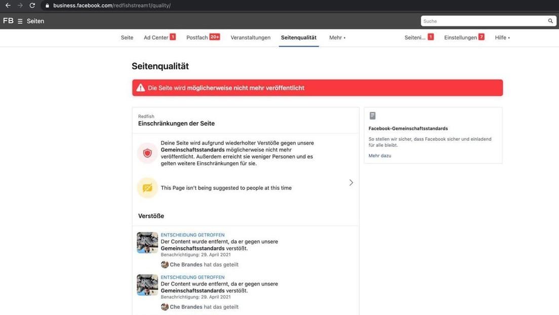 Facebook-Zensur von RT-Tochterfirma Redfish: Seite wieder online – unter strikten Einschränkungen