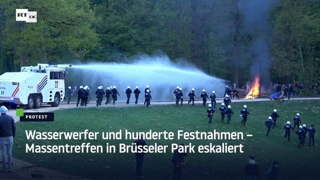 Wasserwerfer und hunderte Festnahmen – Massentreffen in Brüsseler Park eskaliert