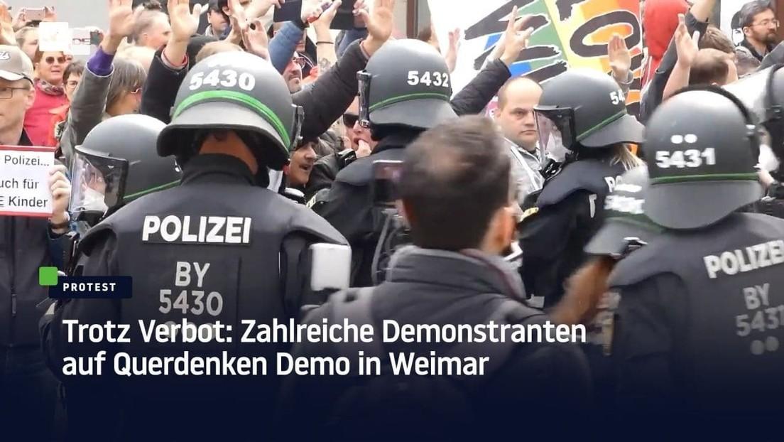 Trotz Verbot: Zahlreiche Demonstranten auf Querdenken-Demo in Weimar