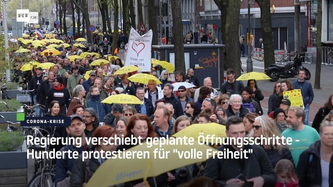 """Niederlande: Regierung verschiebt Öffnungsschritte - Hunderte protestieren für """"volle Freiheit"""""""