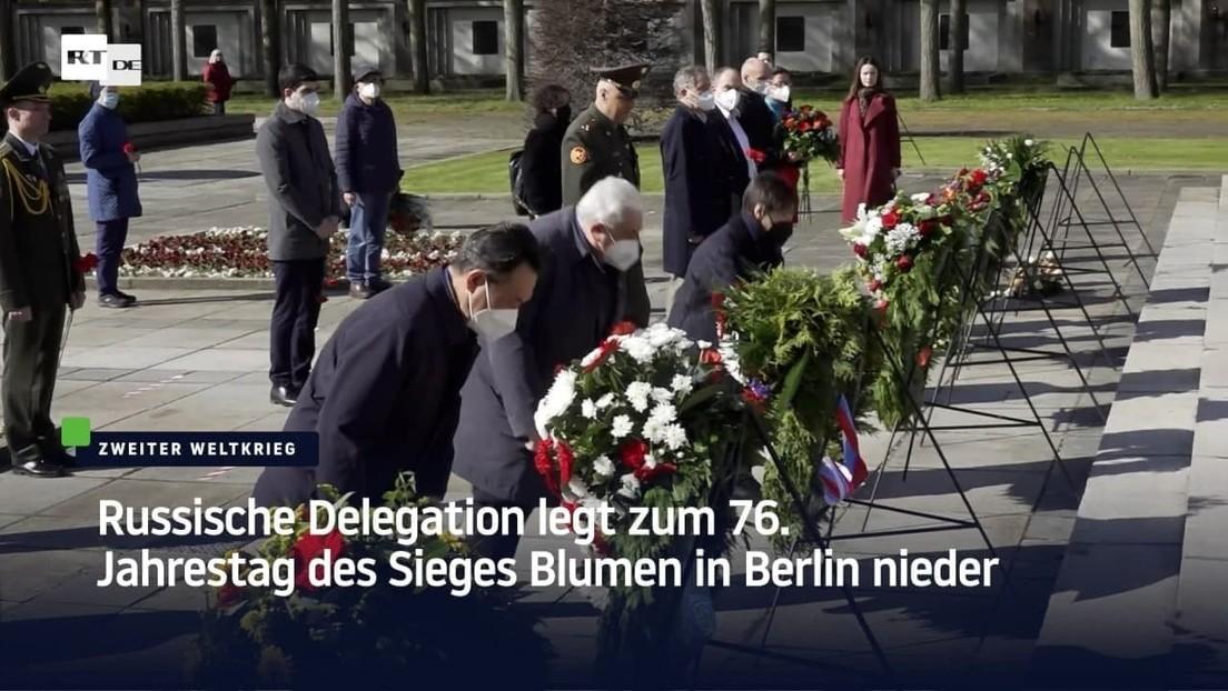 Russische Delegation legt zum 76. Jahrestag des Sieges Blumen in Berlin nieder